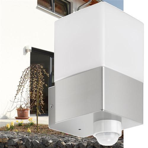 elegante edelstahl aussenleuchte mit opalglas und bewegungsmelder lcd licht creativ design. Black Bedroom Furniture Sets. Home Design Ideas