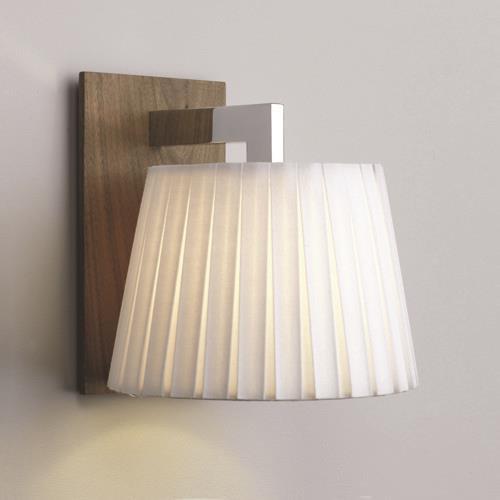nola walnut wandleuchte mit weissem stoffschirm astro 553 click. Black Bedroom Furniture Sets. Home Design Ideas