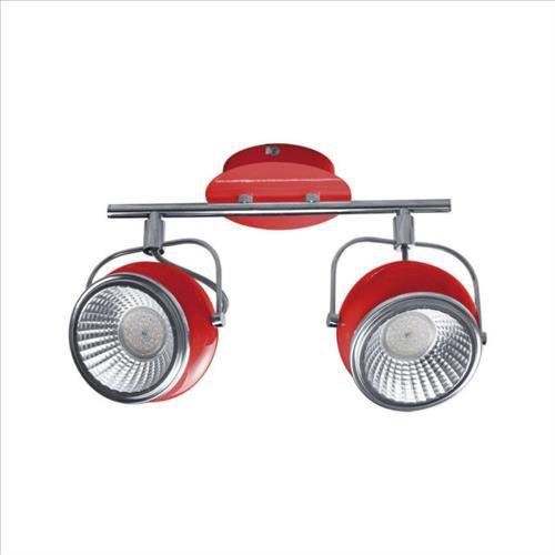 Origineller strahler retro 2 flammig rot heitronic for Deckenlampe 2 strahler