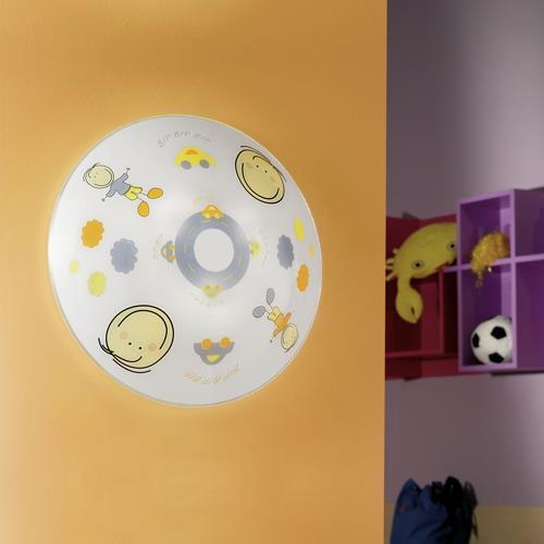 runde kinderzimmerleuchte aus glas mit jungen motiv eglo. Black Bedroom Furniture Sets. Home Design Ideas