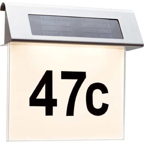 special solar hausnummernleuchte ip44 led 1x0 2w edelstahl paulmann 93765 click. Black Bedroom Furniture Sets. Home Design Ideas