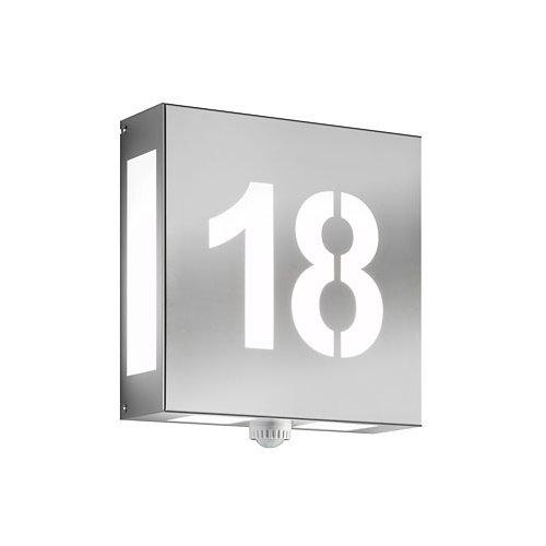 AquaLegendoHausnummernleuchtemit Sensor- Edelstahl negativ Leuchten Maße: Höhe:28 cm Breite:28 cm Tiefe:9,5 cm Leuchtmittel muss separat bestellt werden! Material: Edelstahl / Opalglas Leuchtmittel: 2x60 Watt AGL oder Sparlampen oder LED Leuchtmittel Fassung: 2 x E27 inkl. Bewegungsmelder Maximal dreistellige Ziffernfolge. Leuchte ist vom Umtausch ausgeschlossen, da Sonderanfertigung! Der Bewegungsmelder hat eine Schaltleistung von max. 120W, Erfassungswinkel 120°, Zeiteinstellung von c