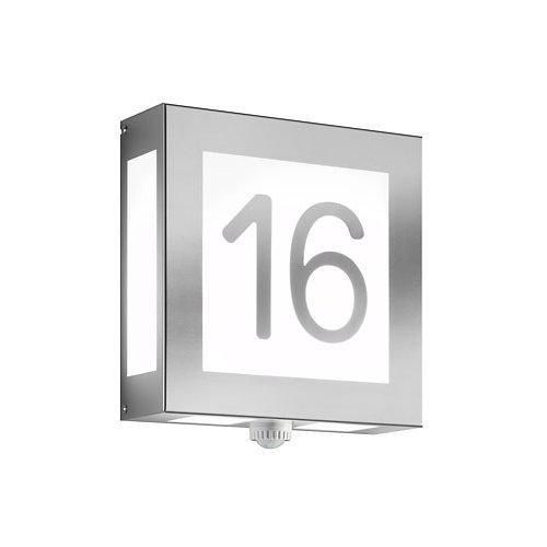 AquaLegendoaufklebenmit Sensor- Edelstahl Hausnummernleuchte Leuchten Maße: Höhe:28 cm Breite:28 cm Tiefe:9,5 cm Leuchtmittel muss separat bestellt werden! Material: Edelstahl / Opalglas Leuchtmittel: 2x60 Watt AGL oder Sparlampen oder LED Leuchtmittel Fassung: 2 x E27 inkl. Bewegungsmelder Maximal zweistellige Ziffernfolge. Leuchte ist vom Umtausch ausgeschlossen, da Sonderanfertigung! Der Bewegungsmelder hat eine Schaltleistung von max. 120W, Erfassungswinkel 120°, Zeiteinstellung von