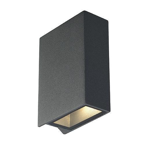 quad 2 wandleuchte eckig anthrazit led 2x3w warmweiss slv 232475 click. Black Bedroom Furniture Sets. Home Design Ideas