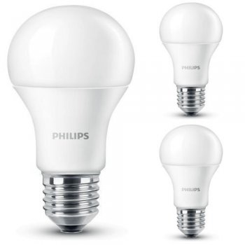 3er Set Philips LED Leuchtmittel E27 9W (60W) 2700K