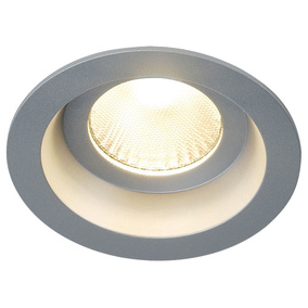 BOOST IP44 Downlight, rund, silbergrau, 9W LED, warmweiss