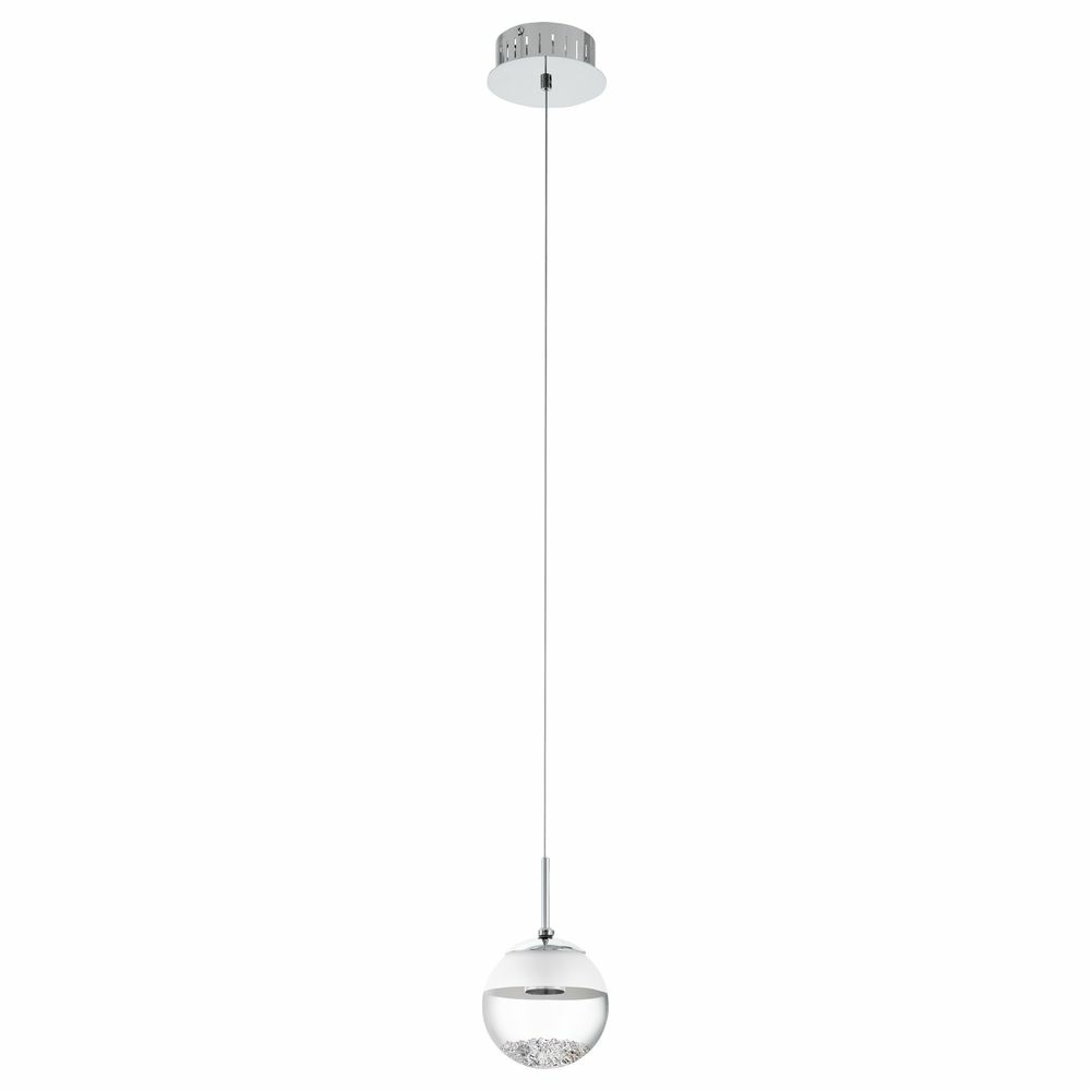 LED Pendelleuchte, chrom, transparent-satiniert, 1-flammig