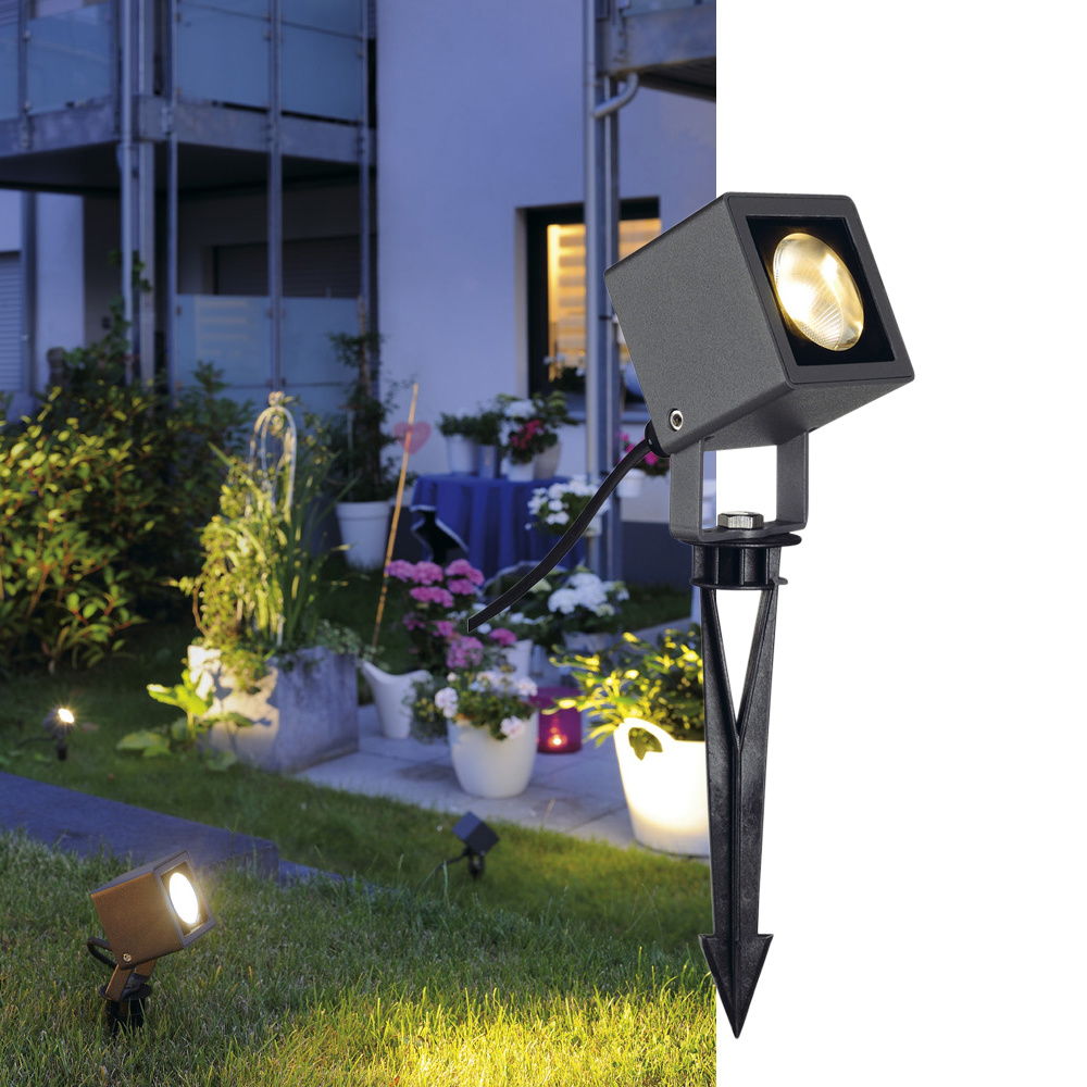 Innovativ Schlichter LED Erdspieß-Strahler Nautilus Square in anthrazit IP65  HS82