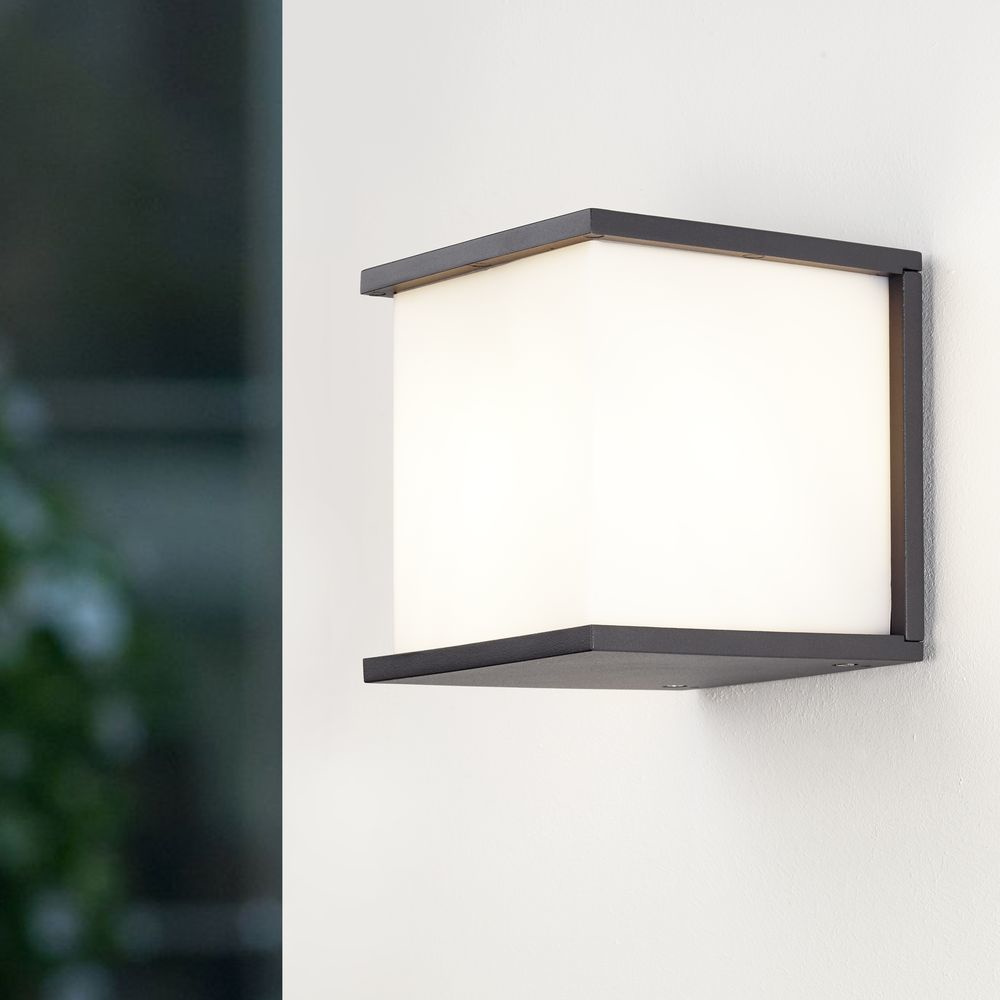 Geradlinige ECO-LIGHT Außenwandleuchte Box Cube in anthrazit