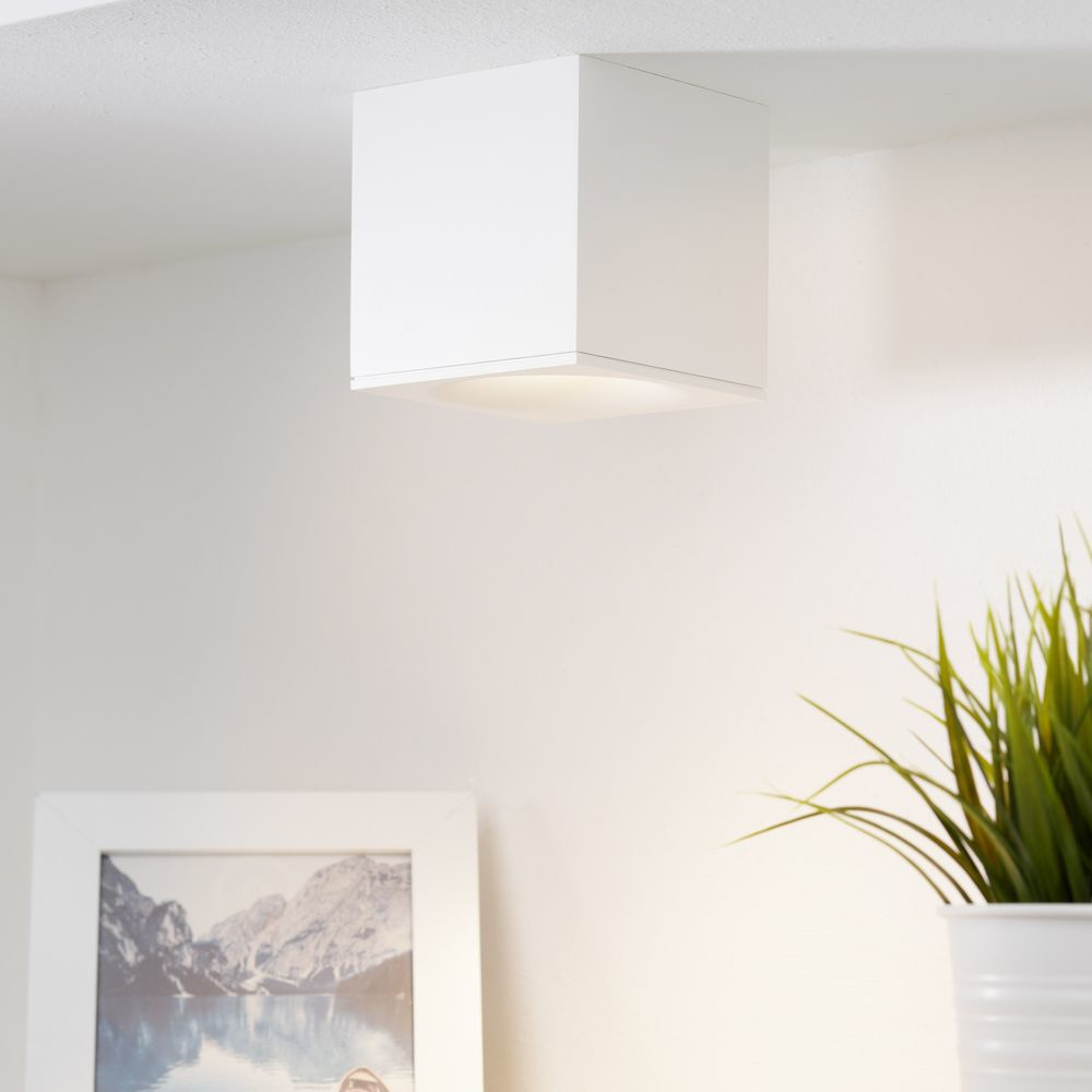 Gediegener mylight LED Deckenspot Brick in weiß, dimmbar