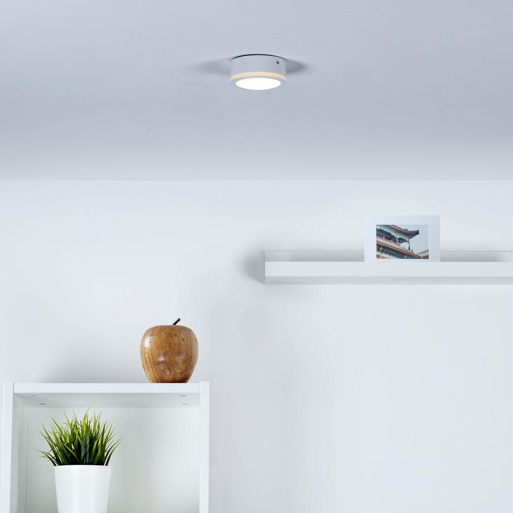 moderner led aufbaustrahler mit lichtkranz in wei. Black Bedroom Furniture Sets. Home Design Ideas