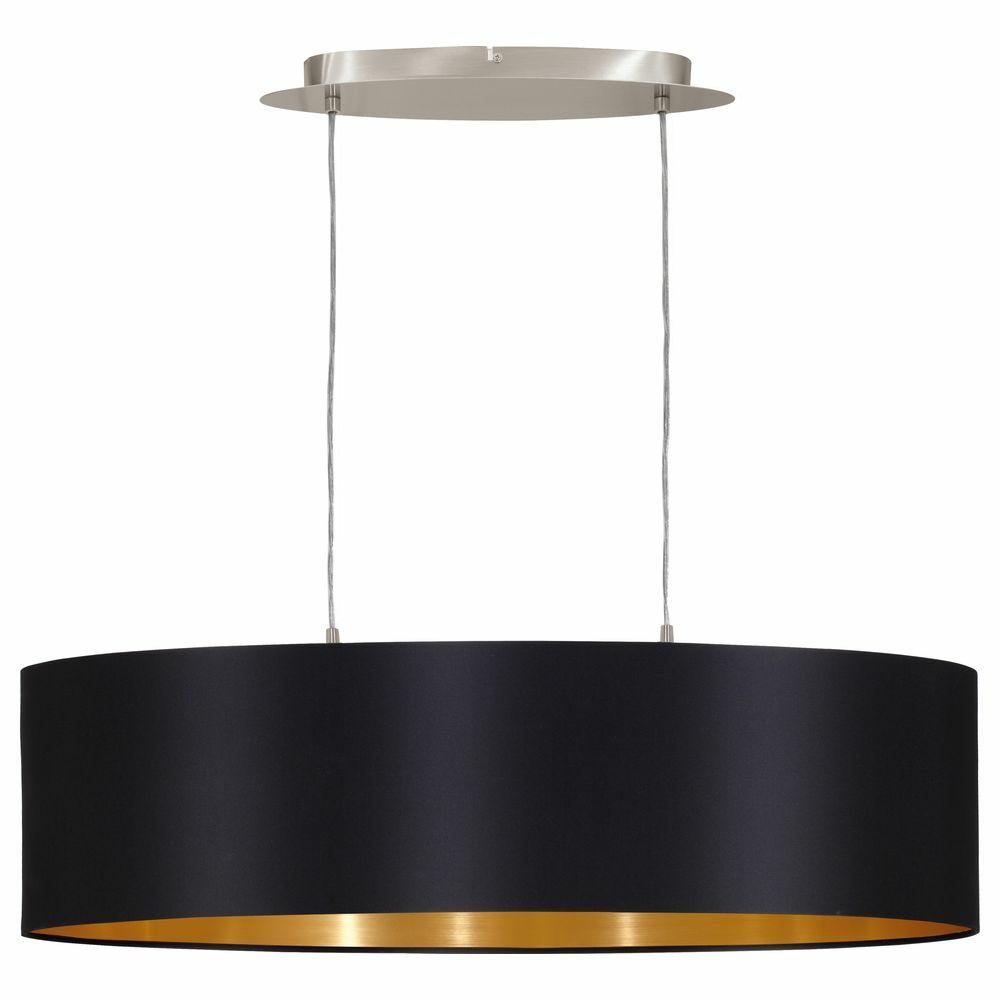 dekorative pendelleuchte maserlo aus stahl in mattiertem nickel und textil in schwarz gold. Black Bedroom Furniture Sets. Home Design Ideas