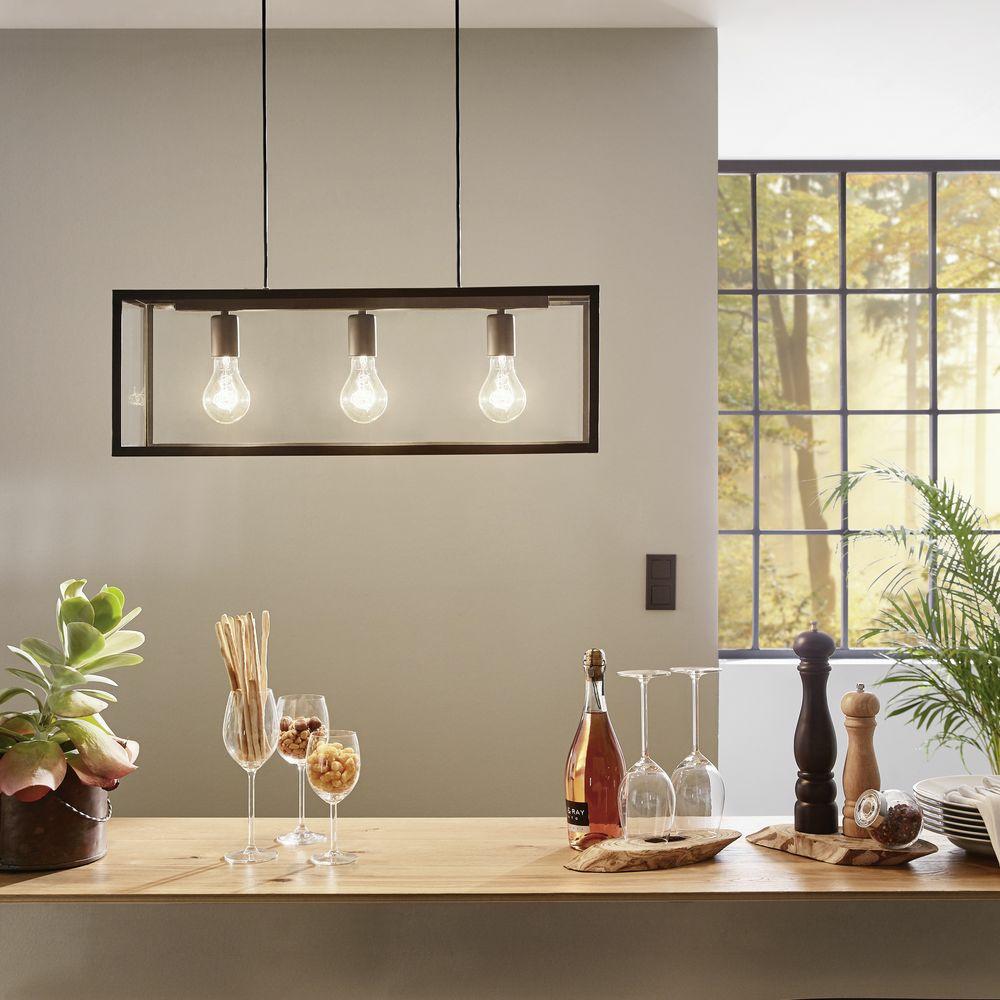 dekorative h ngeleuchte charterhouse aus stahl in schwarz glas klar click. Black Bedroom Furniture Sets. Home Design Ideas