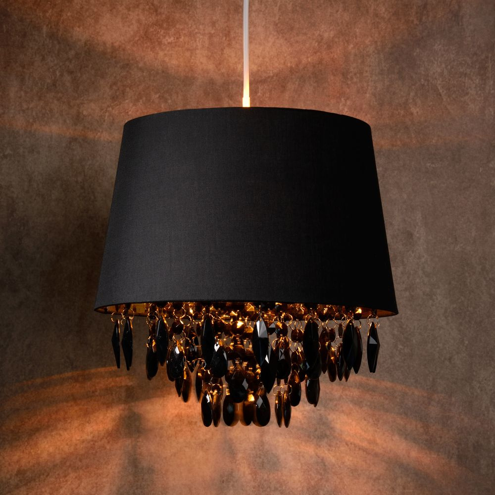 pendelleuchte dolti in schwarz mit kristallbehang 300 mm e27 lucide 78368 30 30 click. Black Bedroom Furniture Sets. Home Design Ideas