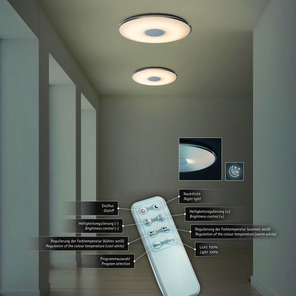 led deckenleuchte tokyo wei acryl klar durchmesser 60 cm. Black Bedroom Furniture Sets. Home Design Ideas