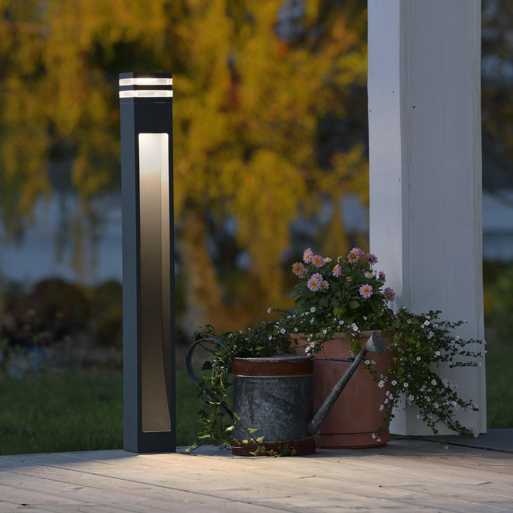 Moderne LED Wegeleuchte aus Aluminium in anthrazit und ...