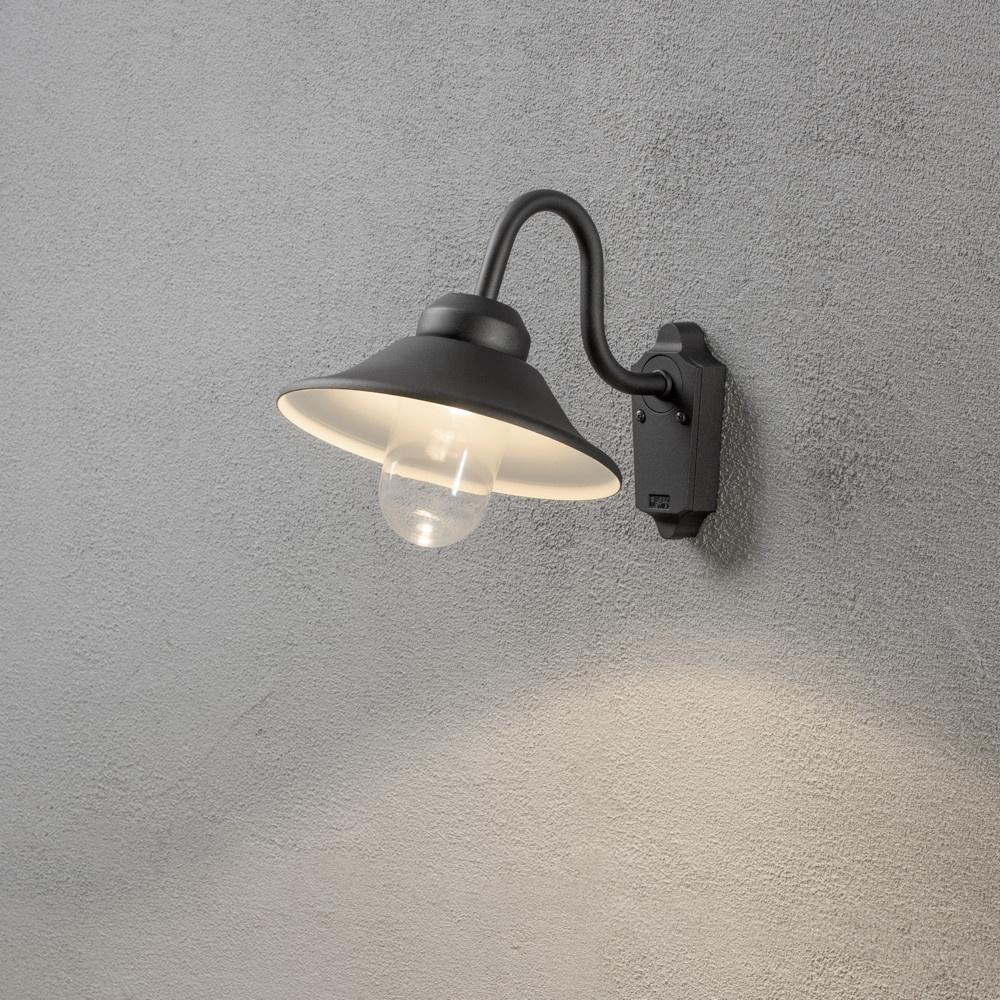 moderne led wandleuchte vega aus aluminium in schwarz und glas in klar dimmb konstsmide. Black Bedroom Furniture Sets. Home Design Ideas