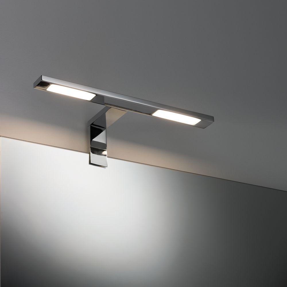 Geschmackvolle LED Spiegel  Und Schrankaufbauleuchte Galeria Double Hook  Aus Metall In Chrom