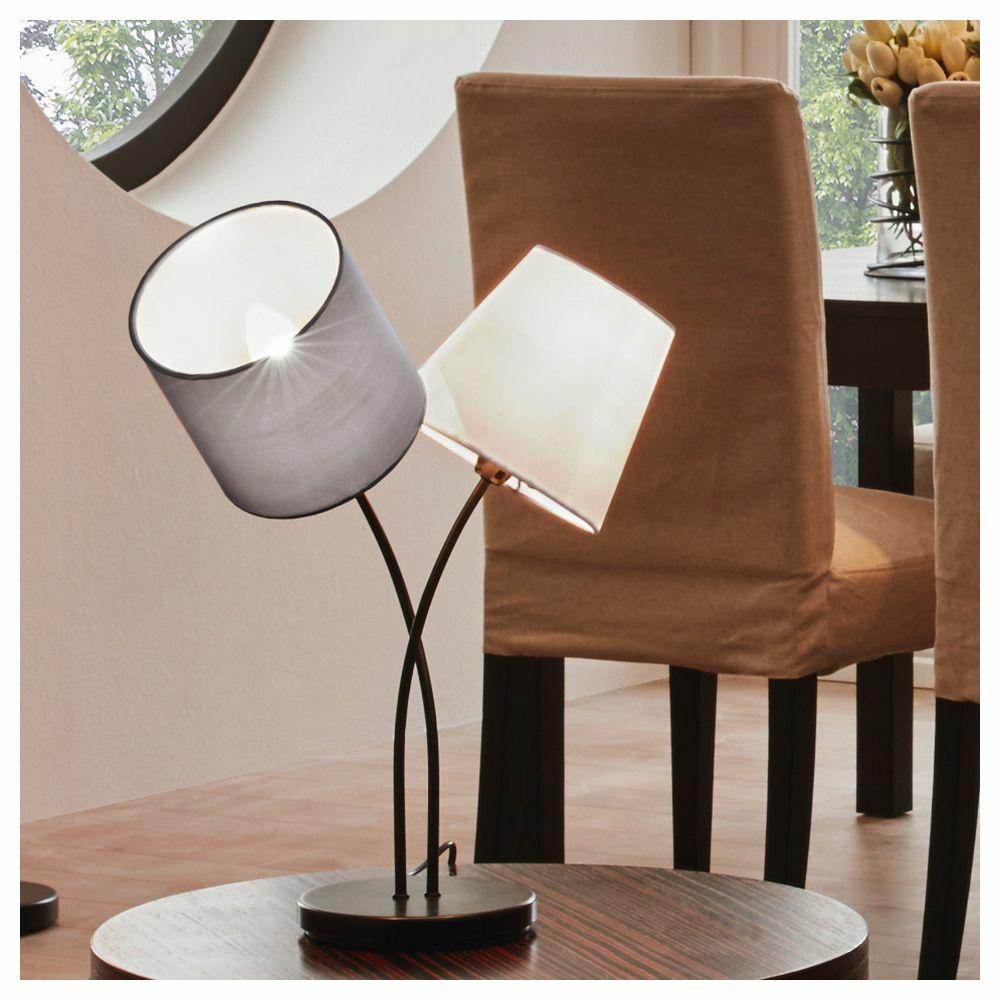 Leuchte Flur Wohnraum Tischleuchte Nachttischleuchte Touch mit Stoffschirm gold