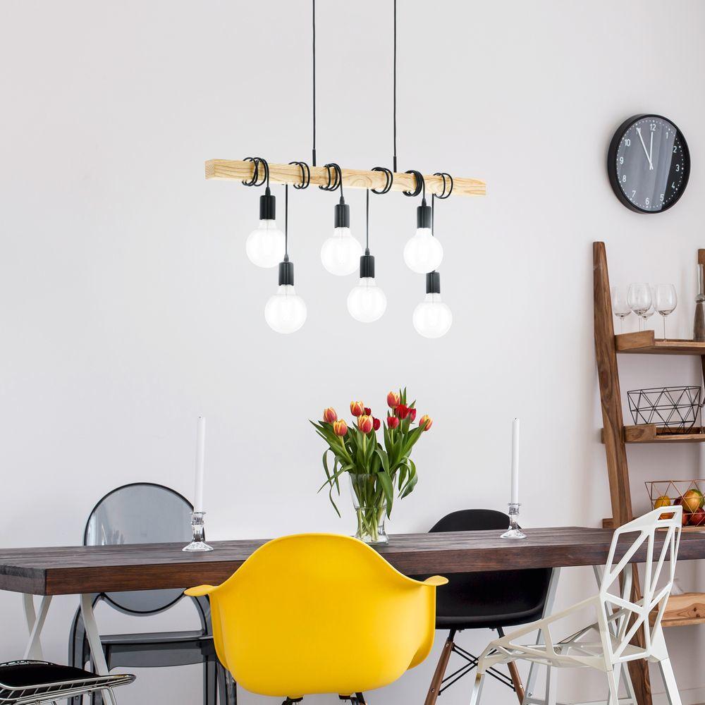 vintage pendelleuchte townshend aus stahl in schwarz und holz in braun 6 fla eglo 95499. Black Bedroom Furniture Sets. Home Design Ideas