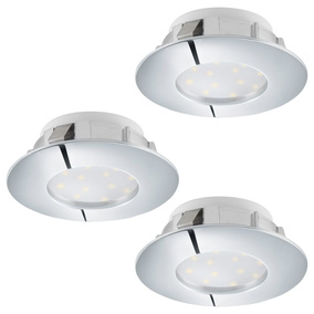 LED Einbauspot, 3er-Set, 78mm, chrom