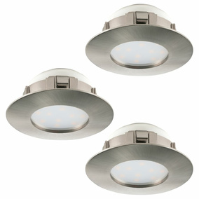 LED Einbauspot, 3er-Set, 78mm, nickel-matt