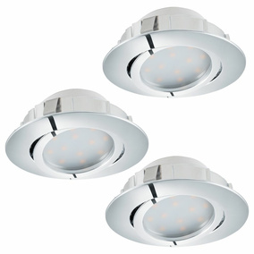 LED Einbauspot, 3er-Set, 84mm, dimmbar, chrom