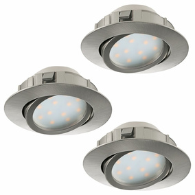 LED Einbauspot, 3er-Set, 84mm, dimmbar, nickel-matt