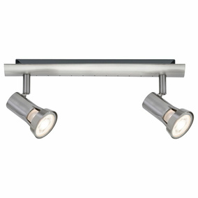 Spotlight Teja, Metall, GU10, nickel satiniert, 2-flammig