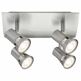 Spotlight Teja, Metall, GU10, nickel satiniert, 4-flammig