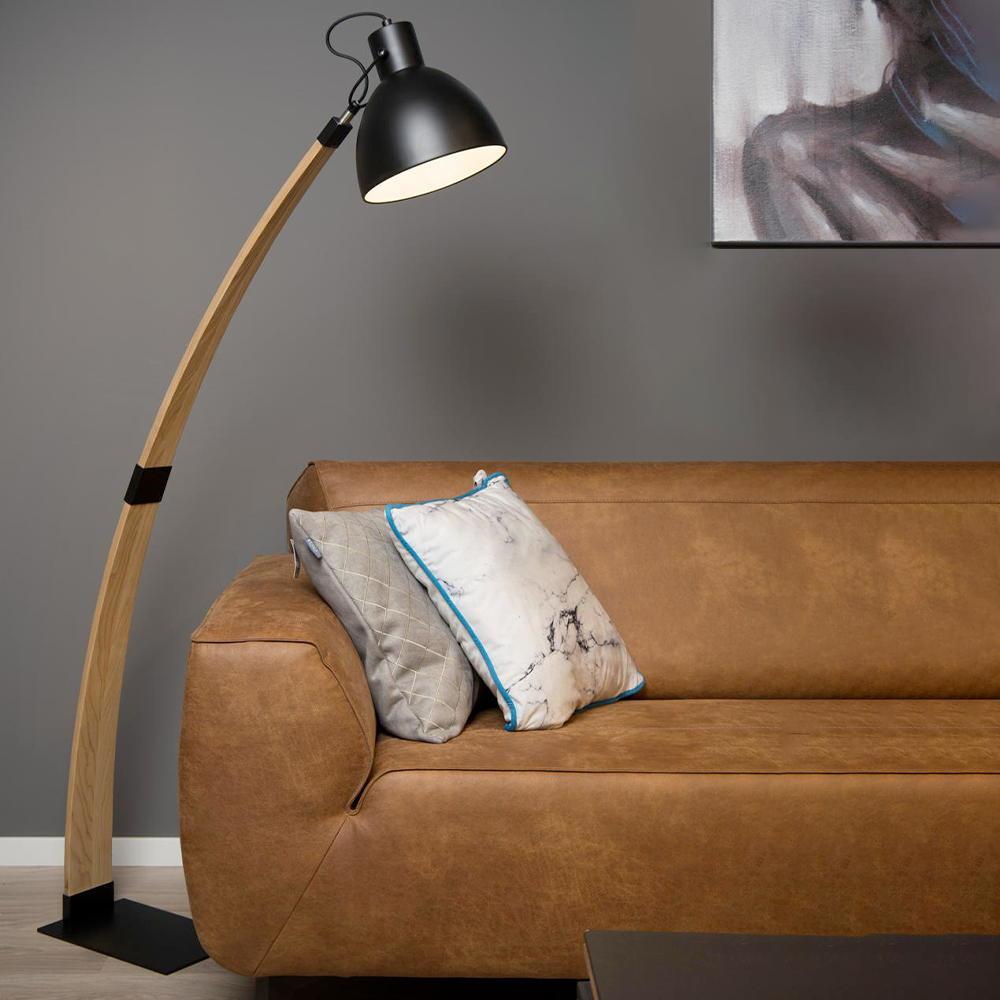 stehleuchte curf aus holz und metall in natur und schwarz e27 lucide 03713 01 30 click. Black Bedroom Furniture Sets. Home Design Ideas