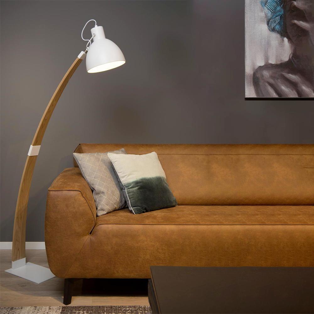 stehleuchte curf aus holz und metall in natur und wei e27 lucide 03713 01 31 click. Black Bedroom Furniture Sets. Home Design Ideas