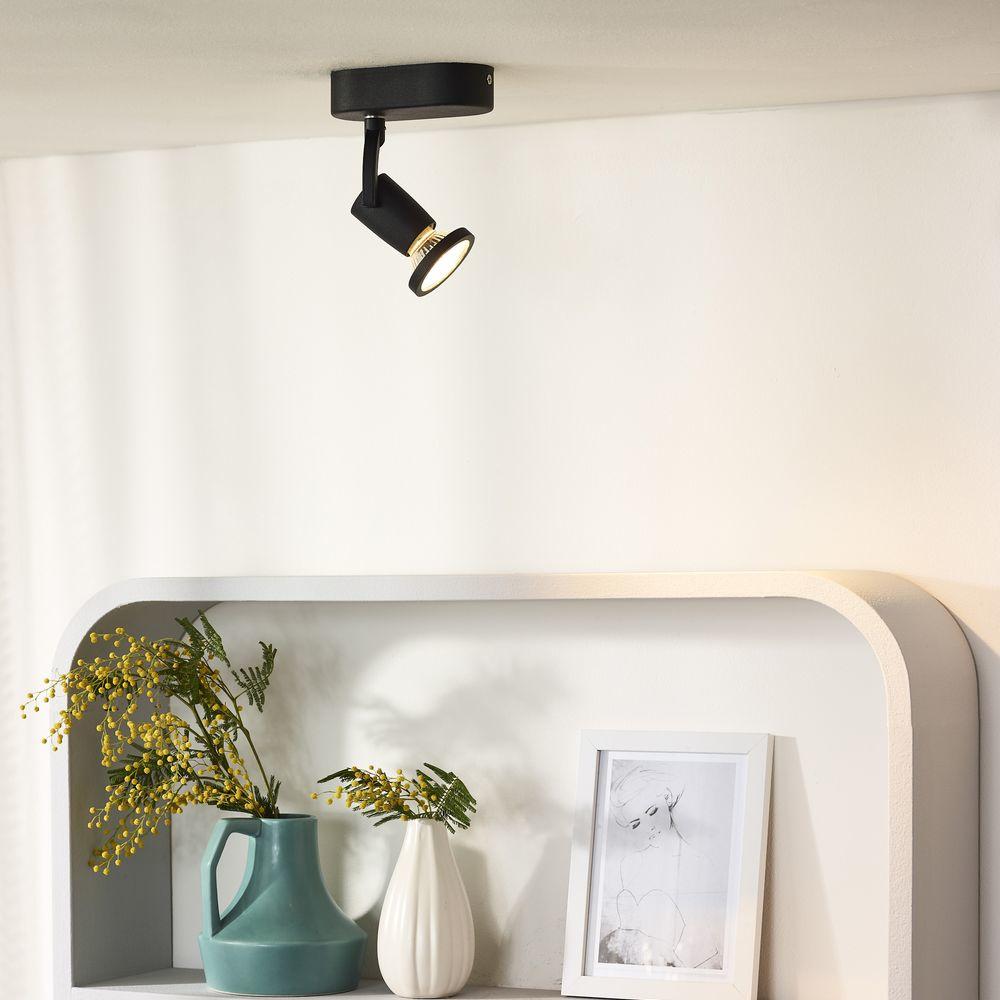 einflammiger leuchtenspot jaster in schwarz inkl austauschbarer gu10 led lucide 11903 05 30. Black Bedroom Furniture Sets. Home Design Ideas