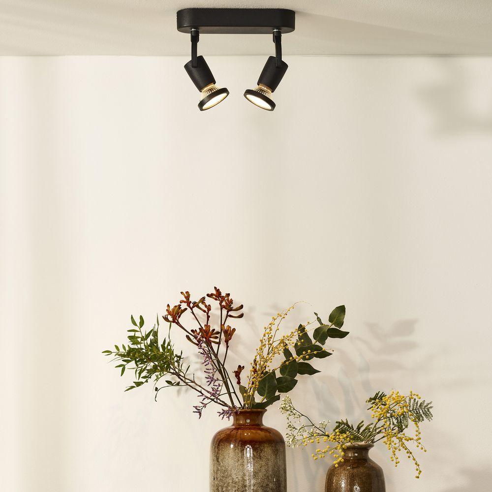 zweiflammiger leuchtenspot jaster in schwarz inkl austauschbarer gu10 led lucide 11903 10. Black Bedroom Furniture Sets. Home Design Ideas