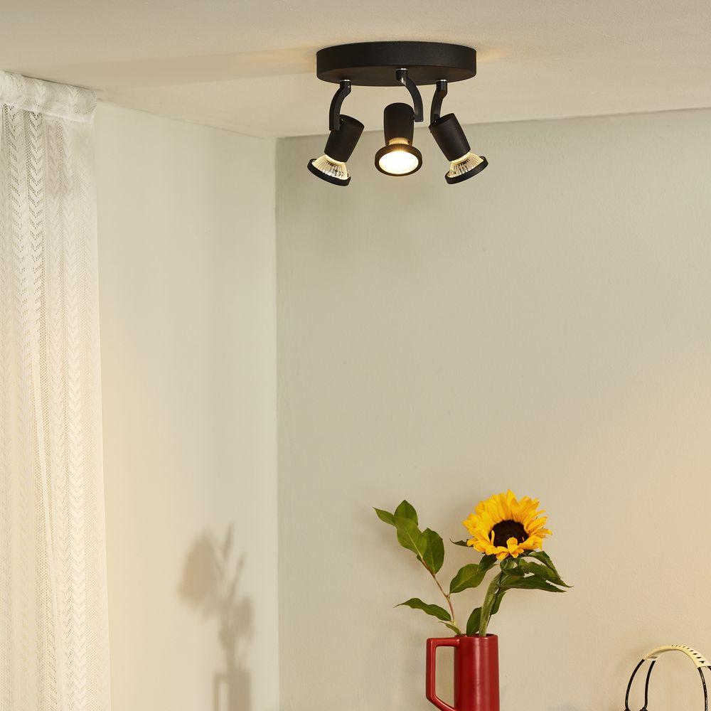 dreiflammiger leuchtenspot jaster in schwarz inkl austauschbarer gu10 led lucide 11903 15. Black Bedroom Furniture Sets. Home Design Ideas