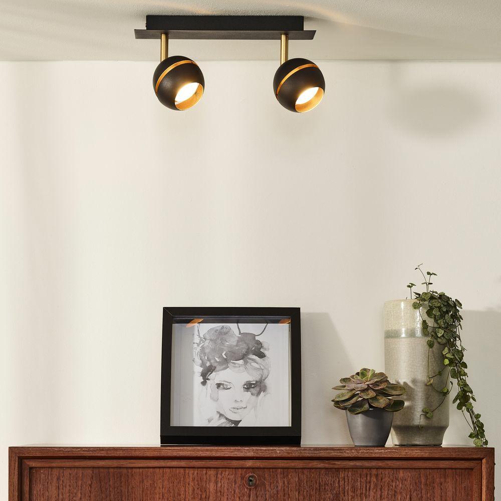 led deckenleuchte binari schwenk und drehbar warmwei schwarz gold lucide 77975 10 30. Black Bedroom Furniture Sets. Home Design Ideas