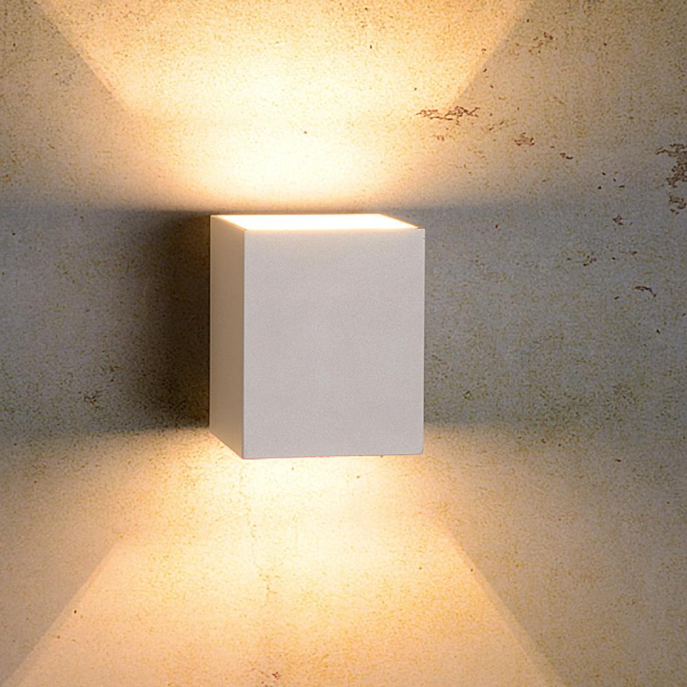 Schwenkbare Design Wandlampe Nickel matt 12W LED 2 Spots Flurbeleuchtung