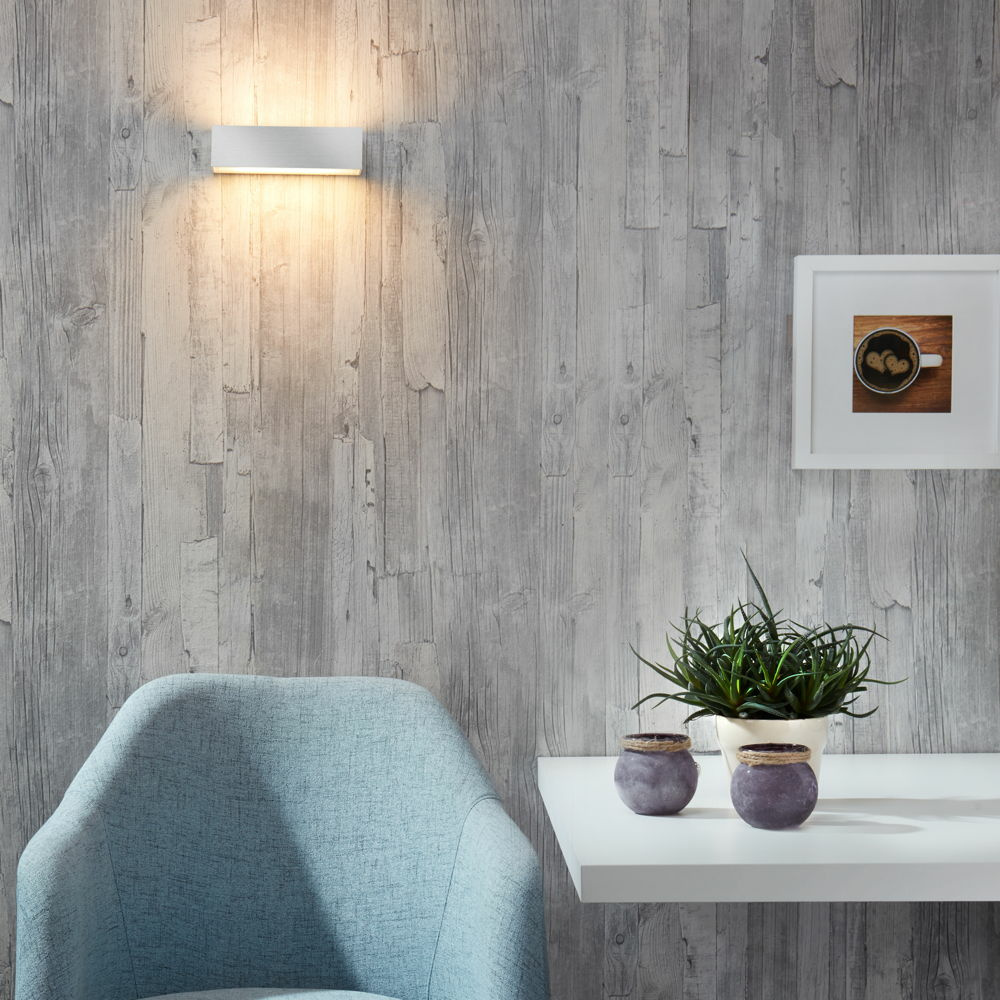 famlights | LED Wandleuchte Eindhoven Aluminium in Silber 182 mm