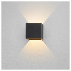 famlights | LED Wandleuchte Cube Aluminium in Anthrazit
