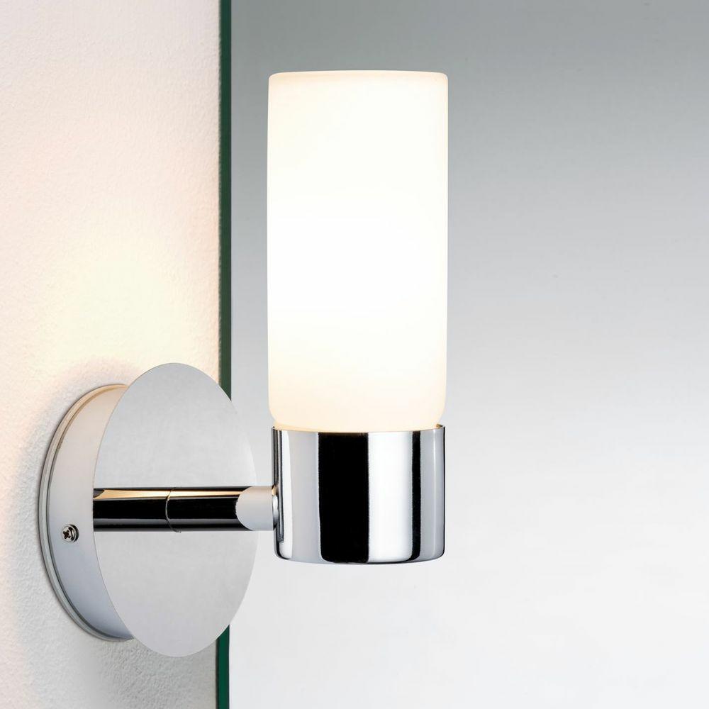 3 Watt LED Wand Leuchte Glas opal Badezimmer Lampe IP44 Chrom Beleuchtung silber