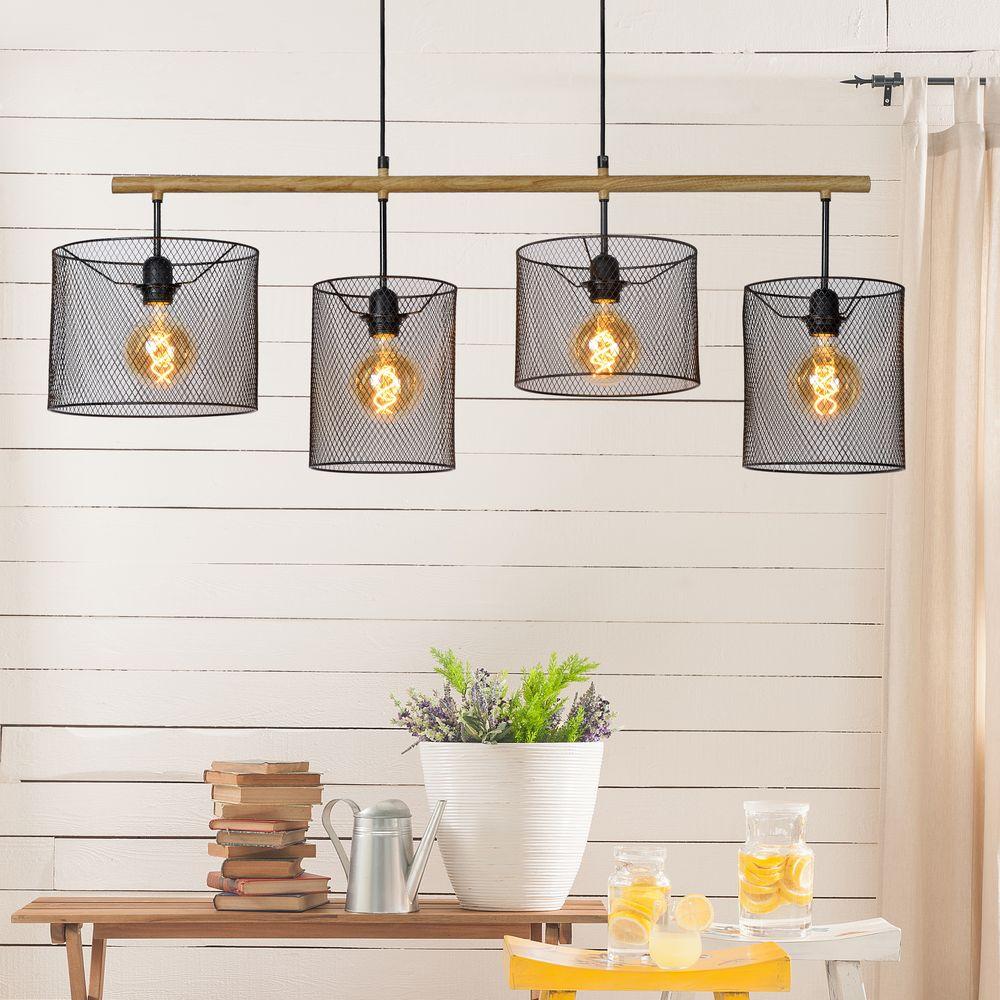 pendelleuchte basket in schwarz 4 flammig lucide 45459 04 30 click. Black Bedroom Furniture Sets. Home Design Ideas