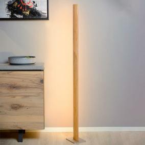 LED Stehleuchte Aus Hellem Holz, Dimmbar