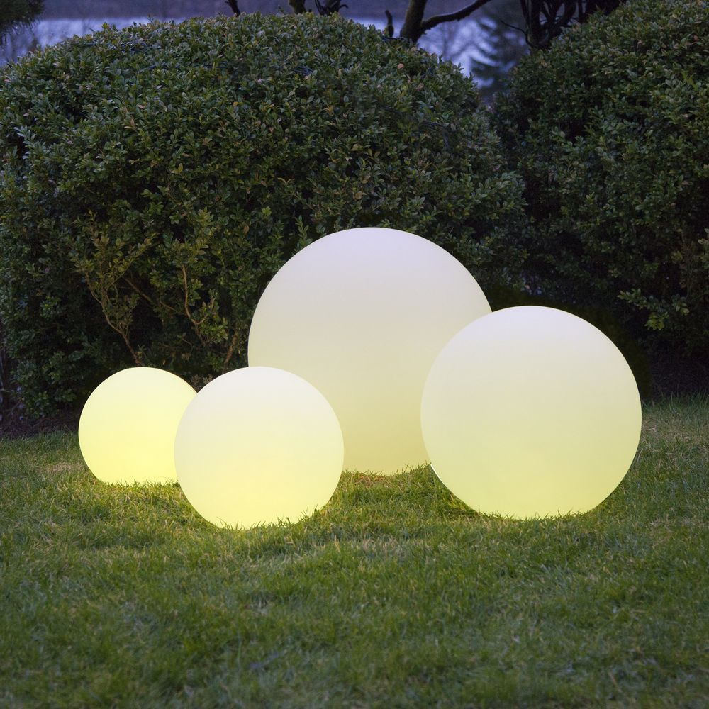 LEUCHTKUGEL rund STEIN GRANIT 200mm für LED bis 16 Watt Garten Dekoration