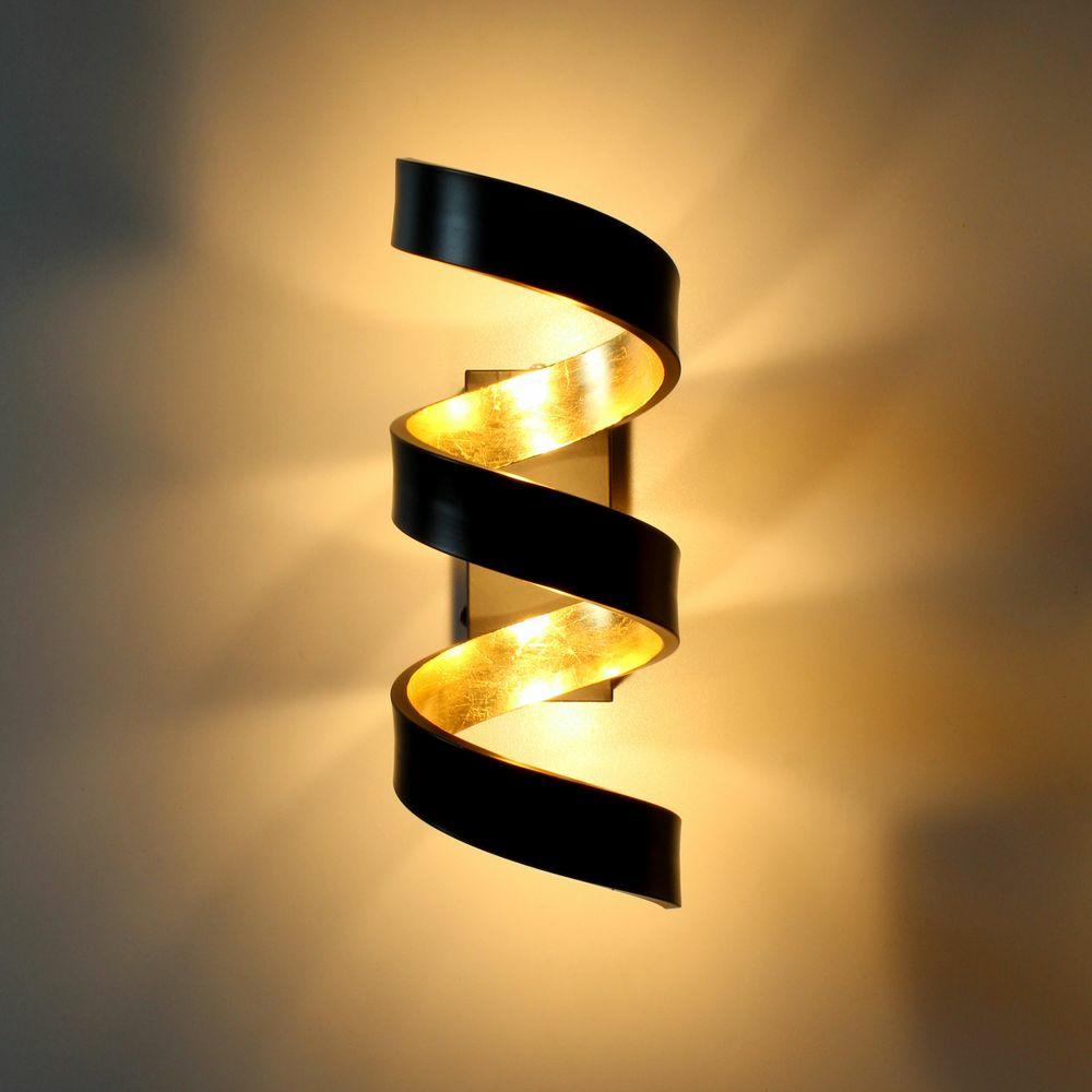 Led Wandleuchte Helix In Schwarz Und Gold Luce Ambiente Design