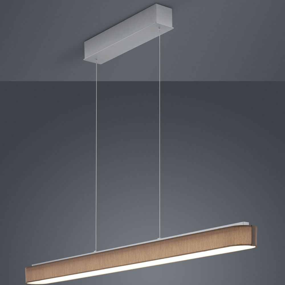 LED Pendelleuchte Bora in Braun und Nickel-matt 36W 4320lm