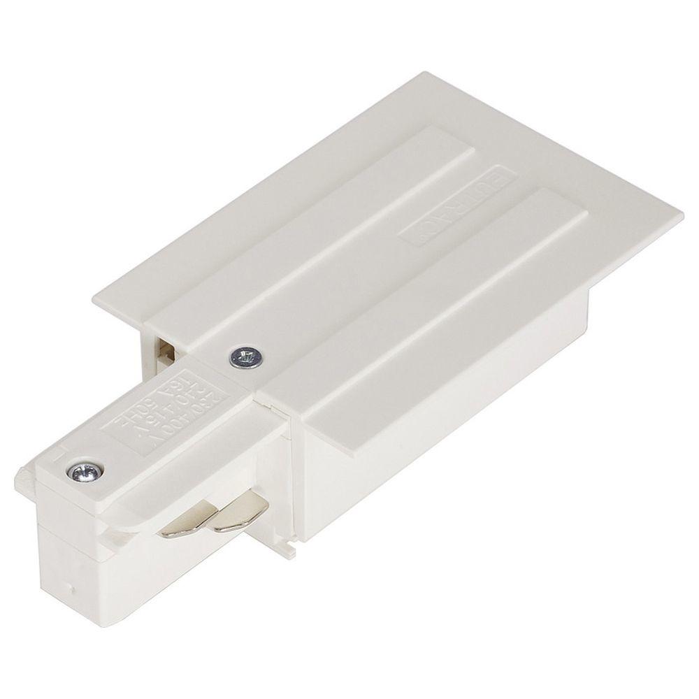 Einbauversion Einspeiser für 1-Phasen HV-Stromschiene weis Schutzleiter links