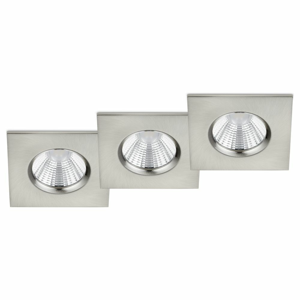 LED Einbaustrahler Zagros in Nickel-matt eckig 3x 5,5W 1035lm IP65