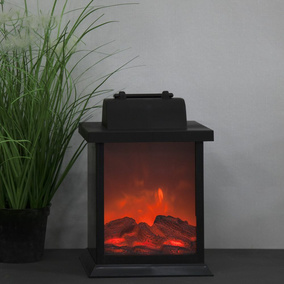 LED Laterne Fireplace in Schwarz mit Timerfunktion