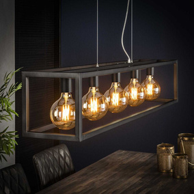 famlights | Pendelleuchte Frieda in silber E27 5-flammig