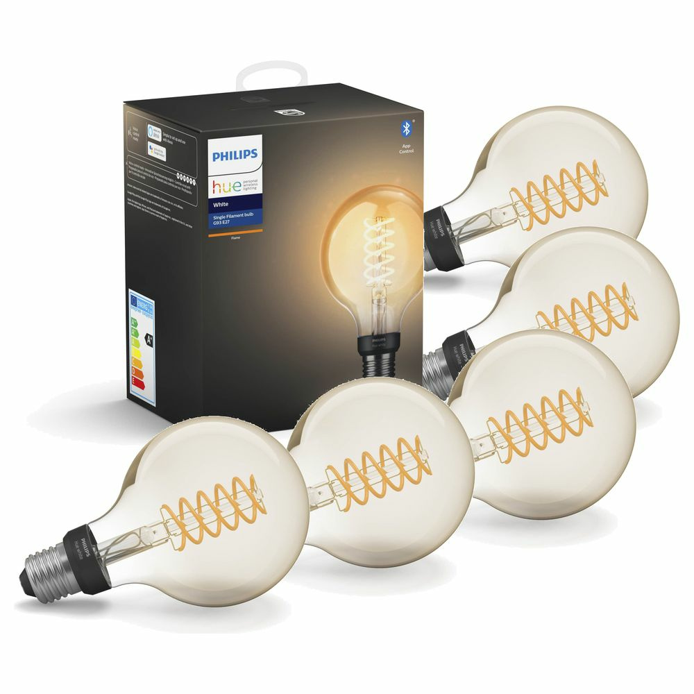 Philips Hue White LED E27 Globe - G93  Filament 7W, 2100 K, dimmbar, Bluetooth, 5er Pack